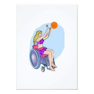 Baloncesto del tiro de la silla de ruedas invitación 12,7 x 17,8 cm