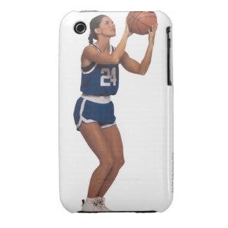 Baloncesto del tiroteo del jugador de la mujer iPhone 3 Case-Mate carcasas