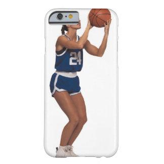 Baloncesto del tiroteo del jugador de la mujer funda para iPhone 6 barely there