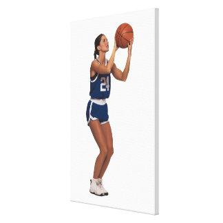 Baloncesto del tiroteo del jugador de la mujer lona estirada galerias