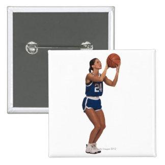Baloncesto del tiroteo del jugador de la mujer pin cuadrado