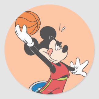 Baloncesto Dunking deportivo de Mickey el | Pegatina Redonda
