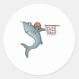 baloncesto dunking sharking pegatina redonda