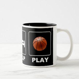 Baloncesto Eat Sleep Play Taza De Café De Dos Colores