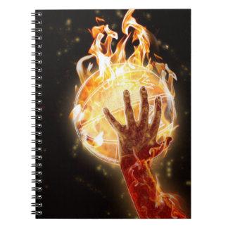 Baloncesto en el cuaderno del fuego
