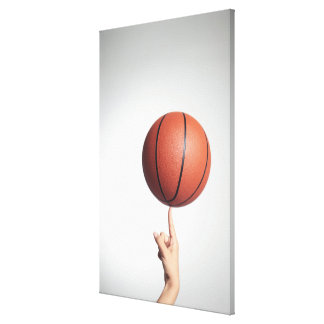 Baloncesto en el dedo índice, primer de las manos impresiones de lienzo