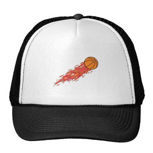 baloncesto en el fuego gorras de camionero