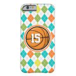 Baloncesto en el modelo colorido de Argyle Funda De iPhone 6 Barely There