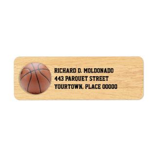 Baloncesto en el piso etiqueta de remitente