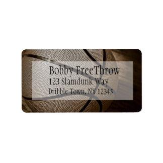 Baloncesto en etiquetas de dirección de la sepia