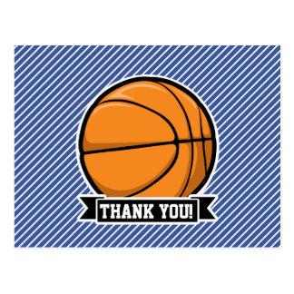 Baloncesto en rayas azules y blancas postales