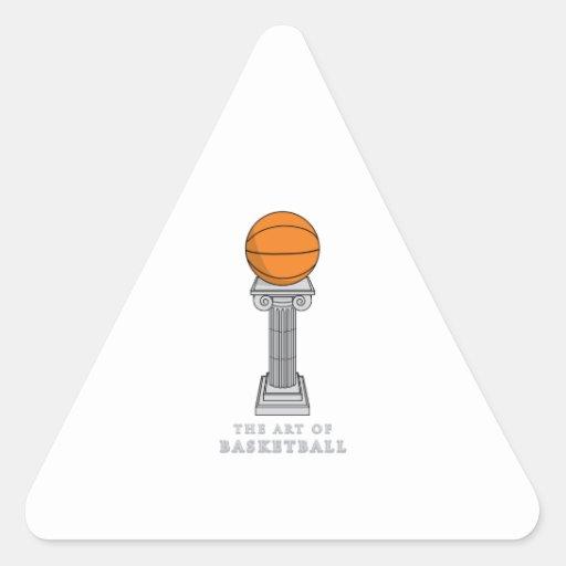 baloncesto en un arte del pedestal pegatina triangulo