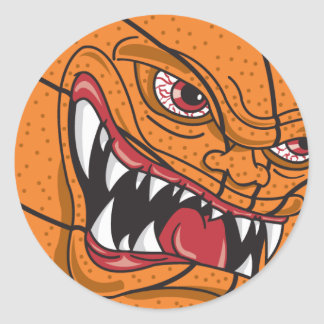 baloncesto enojado pegatina redonda