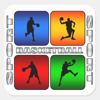 Baloncesto espectacular colcomanias cuadradas personalizadas