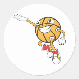 Baloncesto feliz pegatina redonda