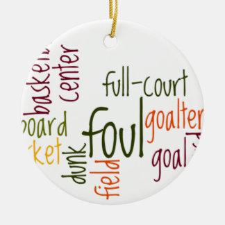 Baloncesto games.png adorno navideño redondo de cerámica