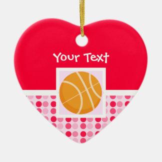 Baloncesto lindo adorno de cerámica en forma de corazón