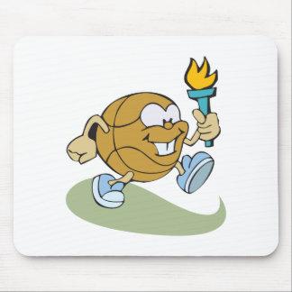 baloncesto lindo del dibujo animado con la antorch mouse pad