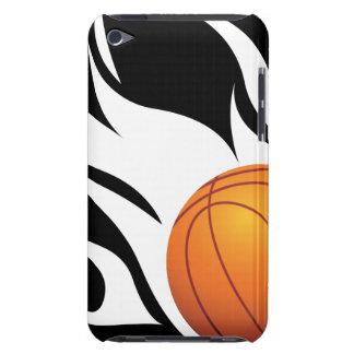Baloncesto llameante blanco y negro iPod Case-Mate fundas