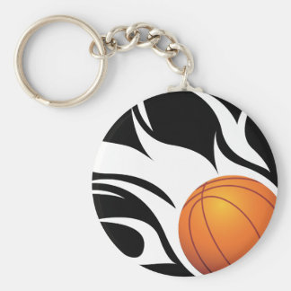 Baloncesto llameante blanco y negro llavero redondo tipo pin
