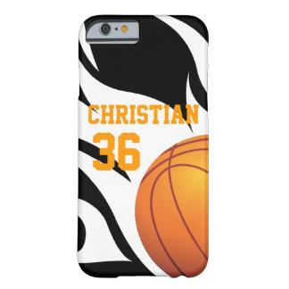 Baloncesto llameante personalizado B/W Funda De iPhone 6 Barely There
