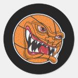 baloncesto malo enojado etiquetas redondas