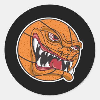 baloncesto malo enojado pegatina redonda