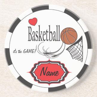 Baloncesto negro, blanco y rojo del amor posavasos personalizados