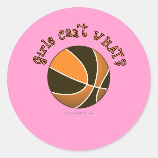 Baloncesto - negro/naranja pegatina redonda