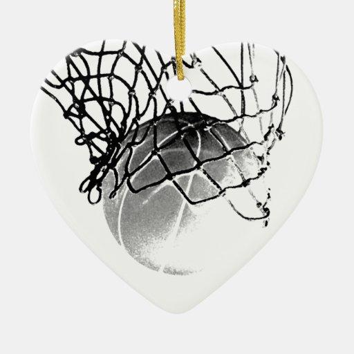 Baloncesto negro y blanco adorno navideño de cerámica en forma de corazón