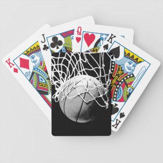 Baloncesto negro y blanco baraja cartas de poker