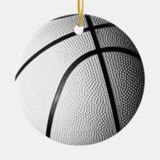 Baloncesto negro y blanco adorno redondo de cerámica