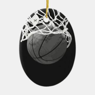 Baloncesto negro y blanco adorno ovalado de cerámica