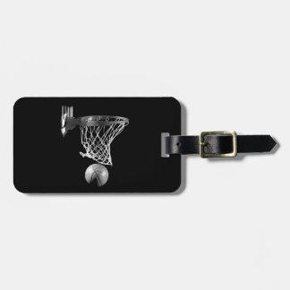 Baloncesto negro y blanco etiquetas para maletas