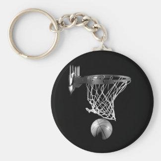 Baloncesto negro y blanco llavero redondo tipo pin