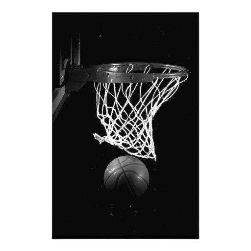 Baloncesto negro y blanco papelería