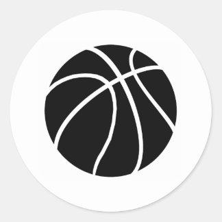 Baloncesto negro y blanco etiquetas redondas