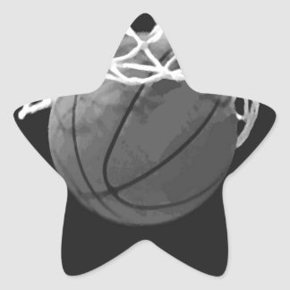 Baloncesto negro y blanco calcomanías forma de estrellaes personalizadas