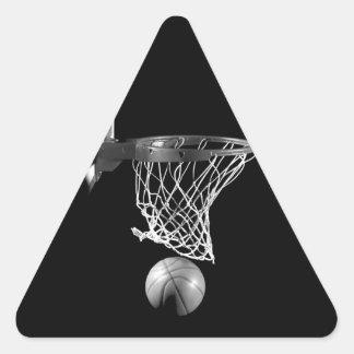 Baloncesto negro y blanco pegatina trianguladas personalizadas