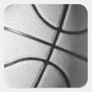 Baloncesto negro y blanco pegatina cuadrada