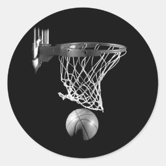 Baloncesto negro y blanco pegatina redonda