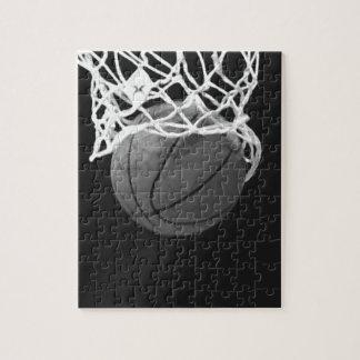 Baloncesto negro y blanco rompecabezas con fotos