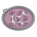 Baloncesto número 10 rosado y blanco hebilla cinturon oval