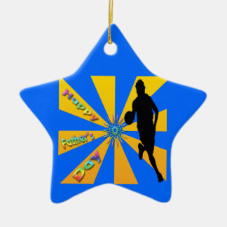 Baloncesto - ornamento feliz del día de padre adorno navideño de cerámica en forma de estrella