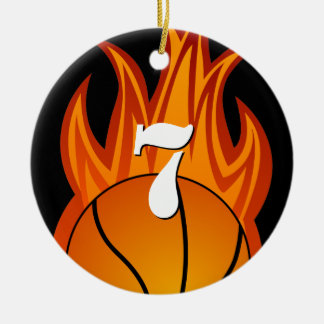 Baloncesto - ornamento modificado para requisitos adorno navideño redondo de cerámica