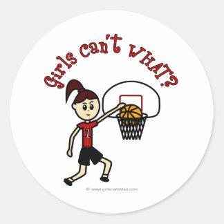 Baloncesto para mujer rojo claro etiquetas redondas