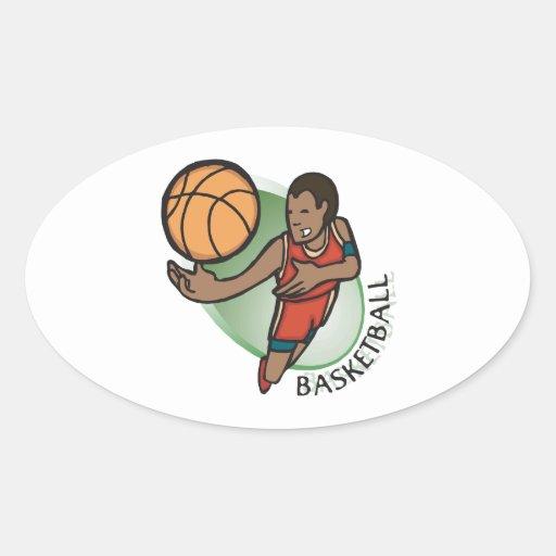 Baloncesto Pegatina Ovalada