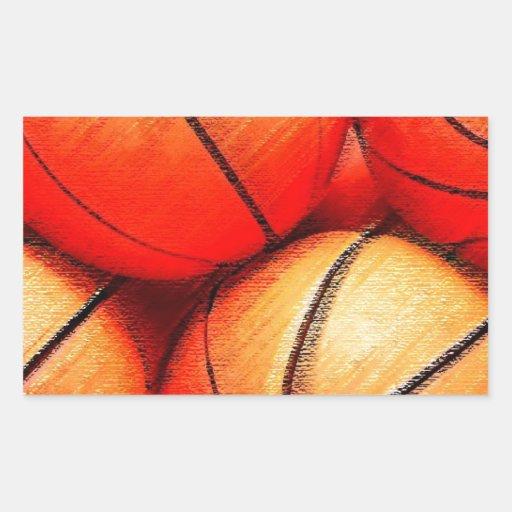Baloncesto Pegatina Rectangular
