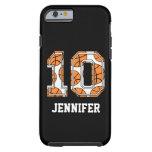 Baloncesto personalizado número 10 funda de iPhone 6 tough