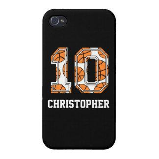 Baloncesto personalizado número 10 iPhone 4/4S fundas